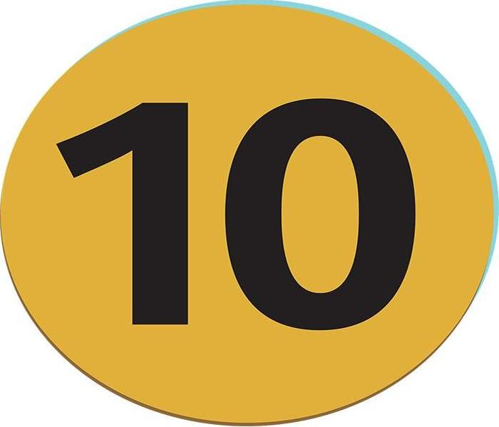 The number ten in big black bold font inside of a yellow circle background.