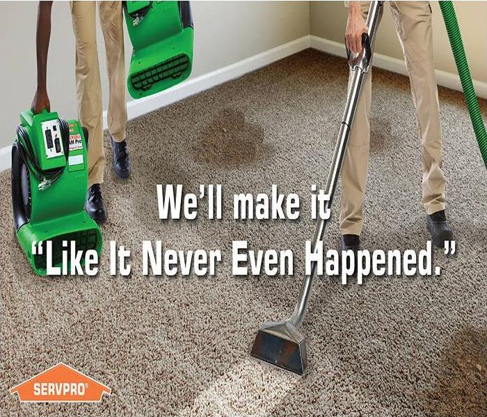 "Two men steam cleaning a dirty carpet with the tagline, We'll make it ""Like it never even happened."""